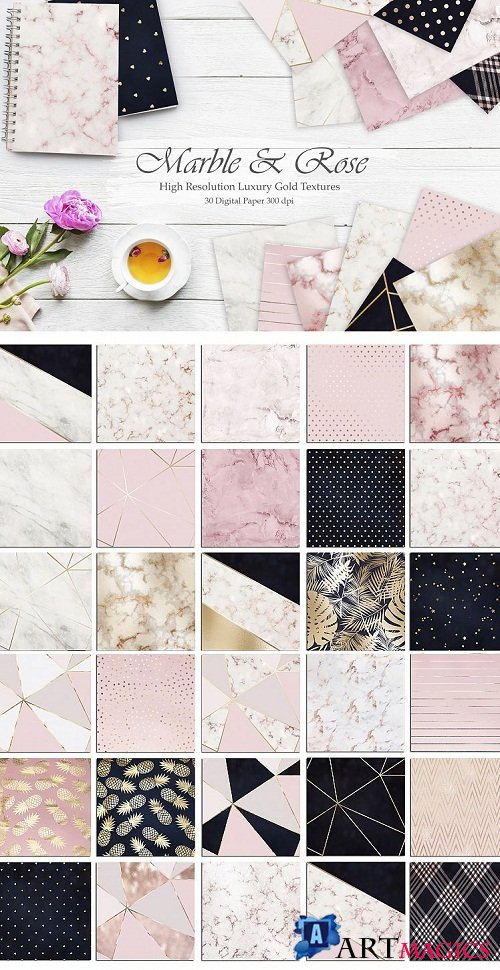 Marble, Rose, Gold, Navy 30 Textures - 124157