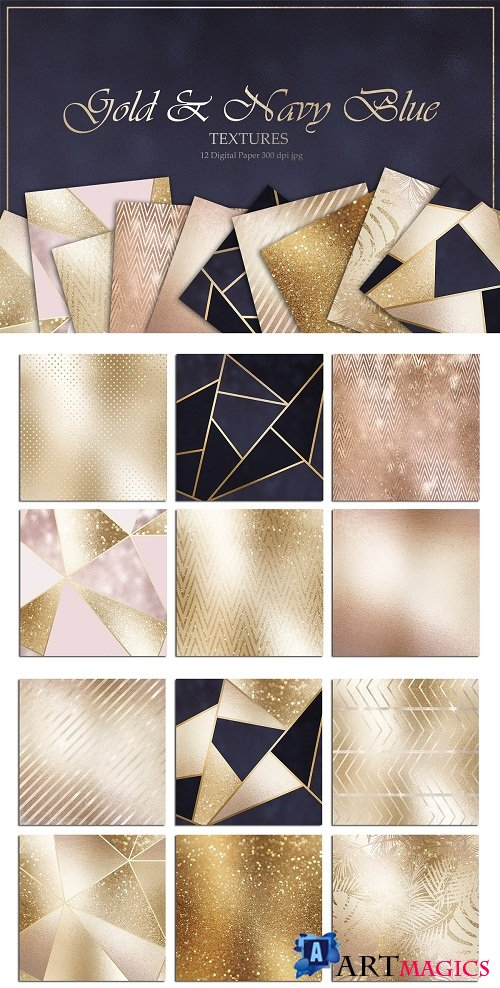 Gold Bronze Rose and Navy Textures - 2759883