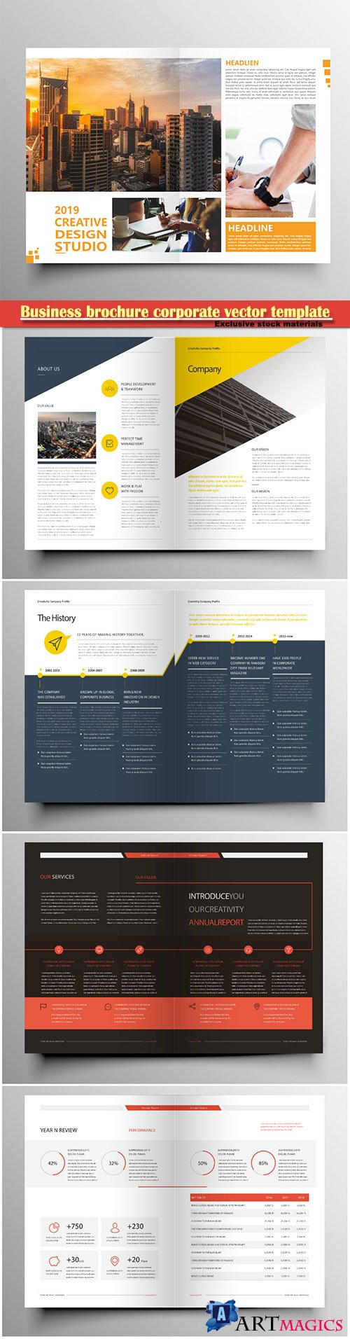 Business brochure corporate vector template, magazine flyer mockup # 44