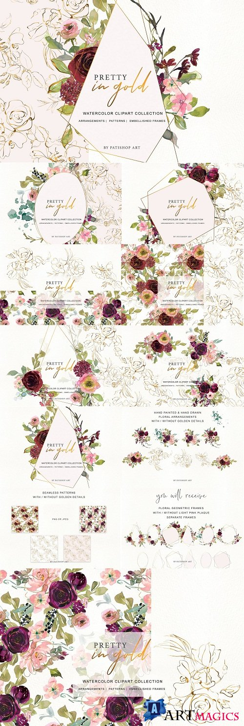 Watercolor Burgundy and Gold Flowers - 3563022