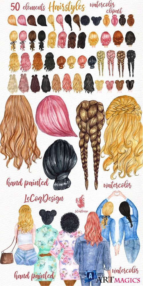 Watercolor Hairstyles clipart - 3582659