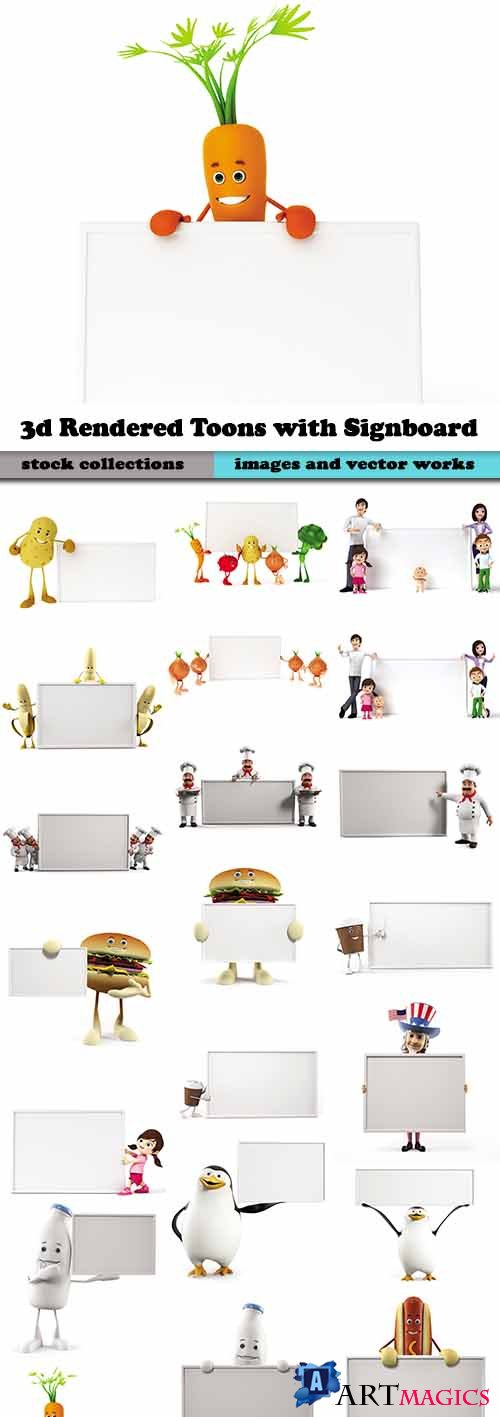 3d Rendered Toons with Signboard - Foods, People and Animals 25xJPGs