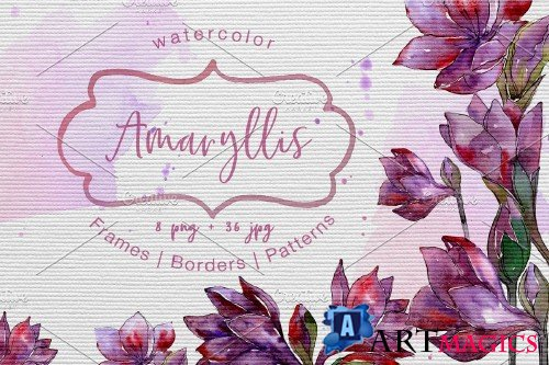 Purple amaryllis PNG watercolor set - 3063154