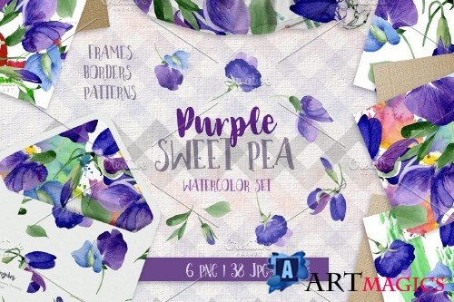 Purple sweet pea PNG watercolor set - 3058487