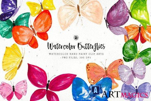 Watercolor Butterflies - 3653116