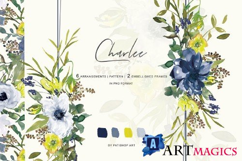 Watercolor Navy & White Flowers - 3659018