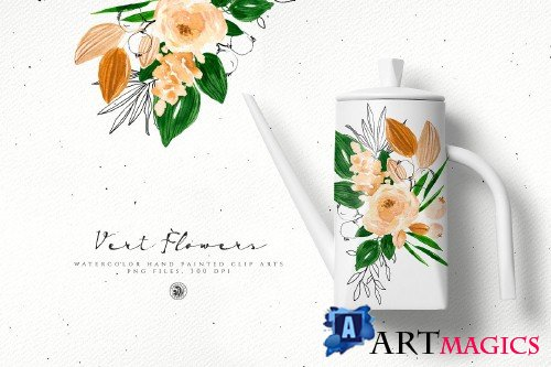 Vert Watercolor Flowers - 3648839