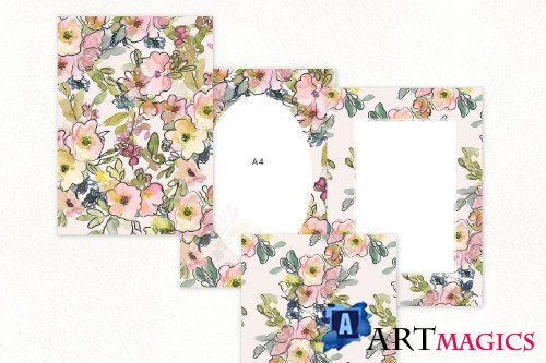 Watercolor Floral Backgrounds - 3618949