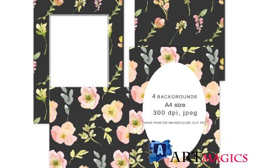 Blush Black Floral Backgrounds - 3620098