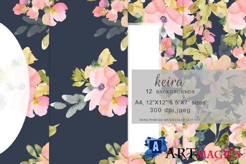 Floral Blush Navy Backgrounds - 3619549