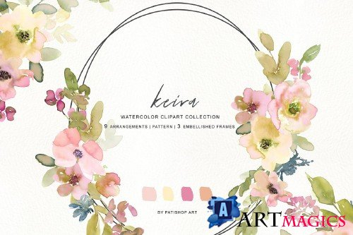 Watercolor Blush and Lemon Florals - 3625602