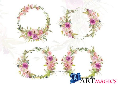 Watercolor Blush Purple Wreath - 3666917