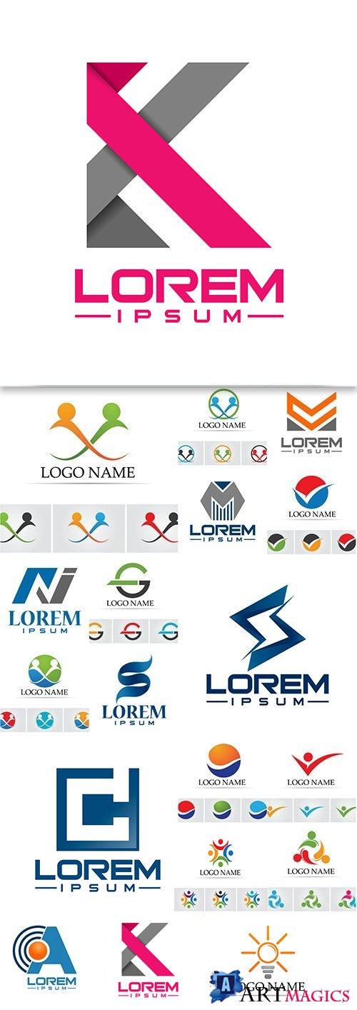 Business logos abstract design collection 26