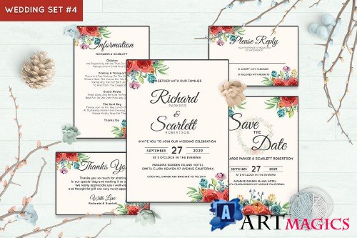 Wedding Invitation Set #4 Watercolor Floral Flower Style - 238457