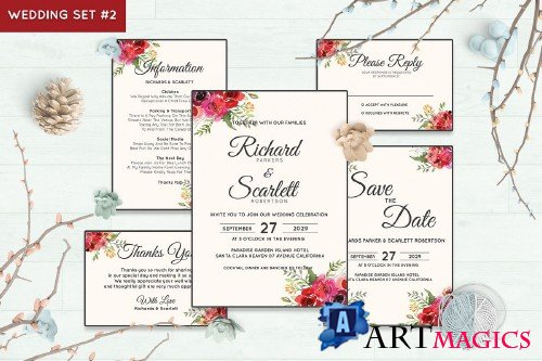 Wedding Invitation Set #2 Watercolor Floral Flower Style - 238444