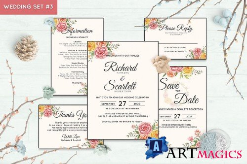 Wedding Invitation Set #3 Watercolor Floral Flower Style - 238450