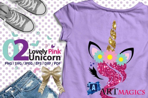 Lovely Pink Unicorn 02 high res svg - 243102