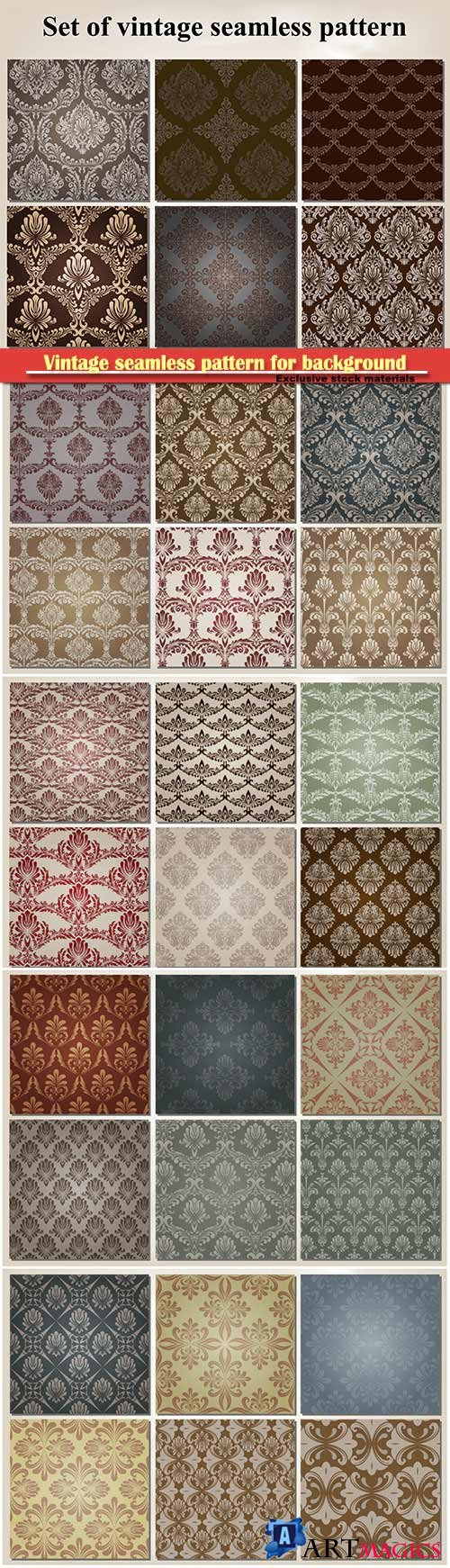 Vintage seamless pattern for background, pattern in swatches