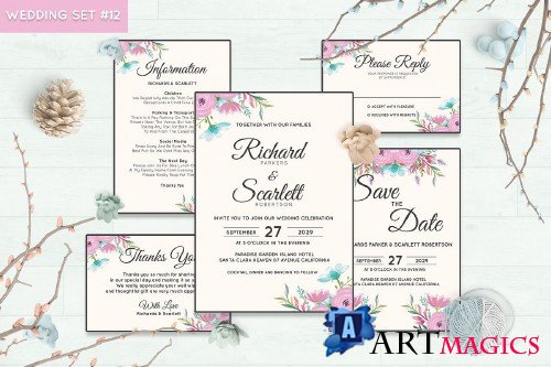 Wedding Invitation Set #12 Watercolor Floral Flower Style - 239695