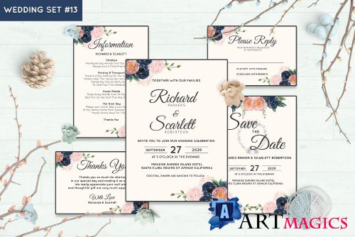 Wedding Invitation Set #13 Watercolor Floral Flower Style - 239697