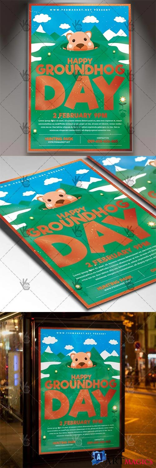 Happy Groundhog Day – Seasonal Flyer PSD Template