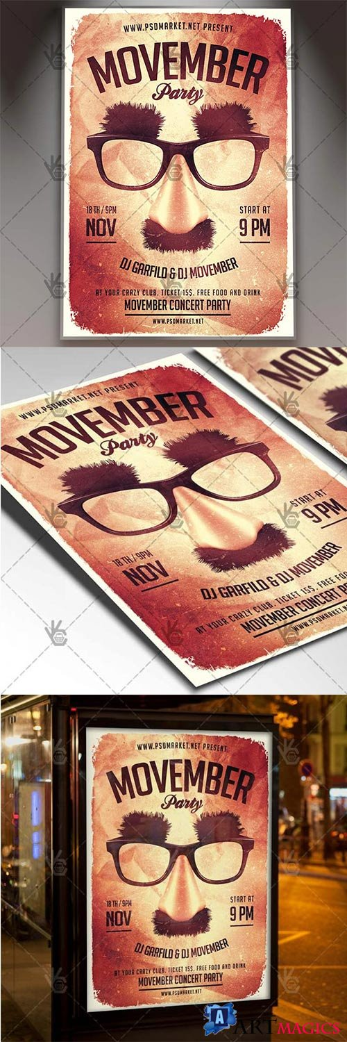 Movember Party Night – Seasonal Flyer PSD Template