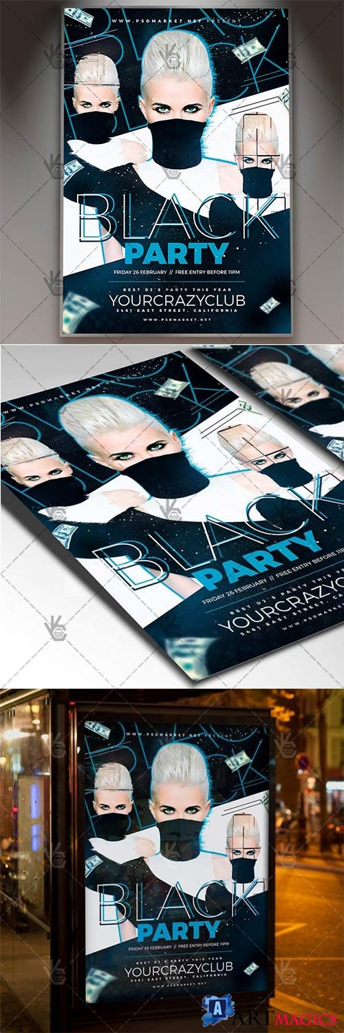 Black Party Night – Club Flyer PSD Template