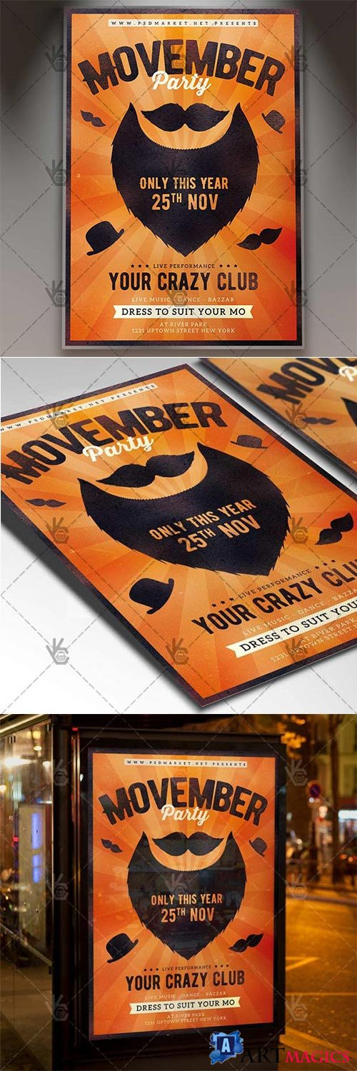 Movember Party – Seasonal Flyer PSD Template