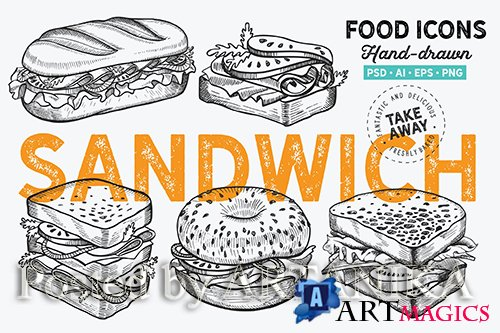 Sandwich Fast Food Hand-Drawn Graphic