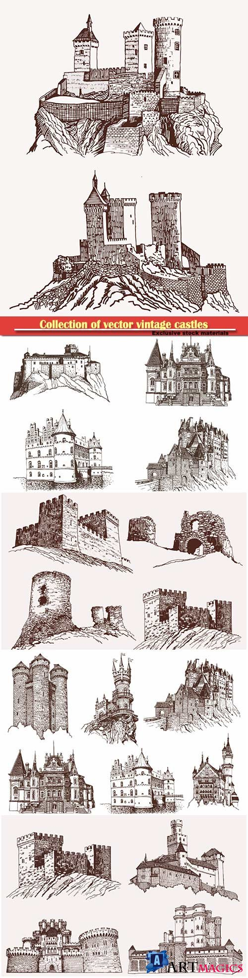 Collection of vector vintage castles