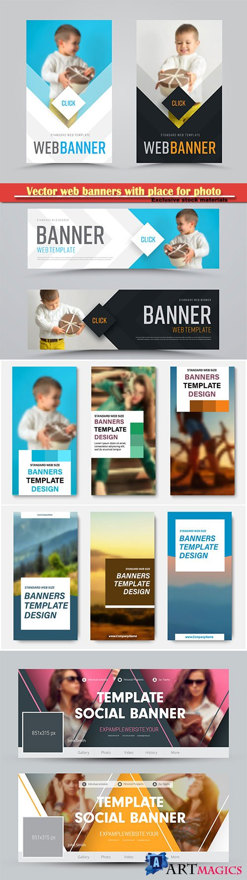 Vector web banners with place for photo and squares for the header