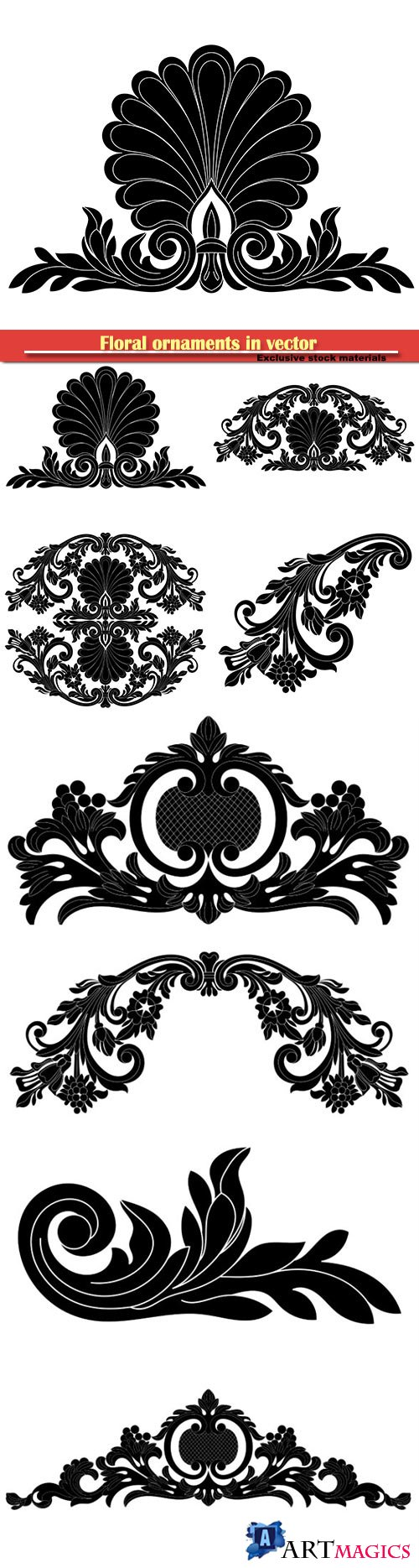 Floral ornaments in vector