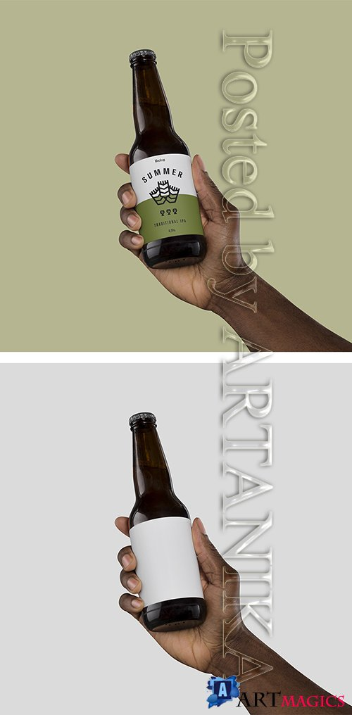 Hand Holding Beer Mock up