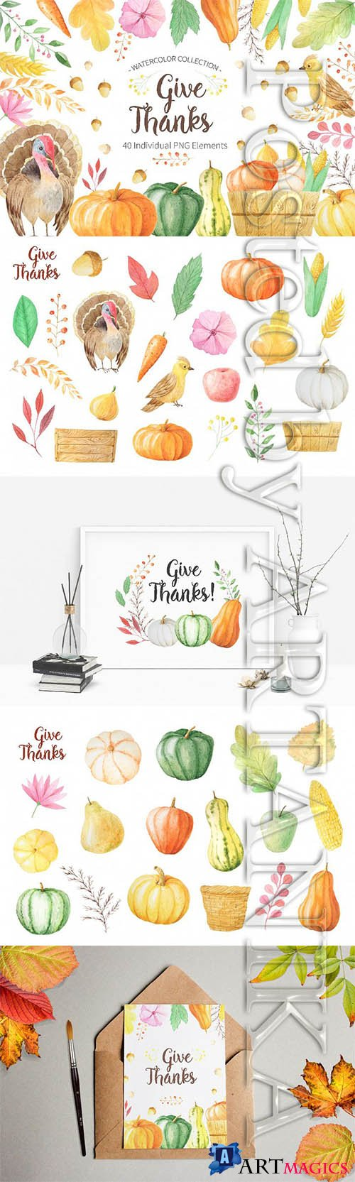 Watercolor Thanks Giving PNG