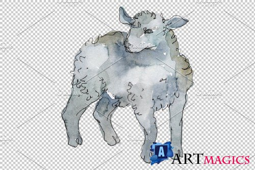 Farm animals: lamb Watercolor png - 3733133
