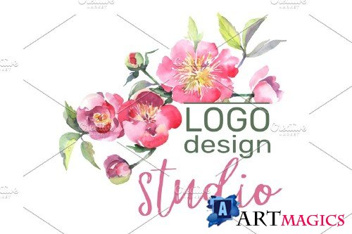 LOGO with peonies Watercolor png - 3734396
