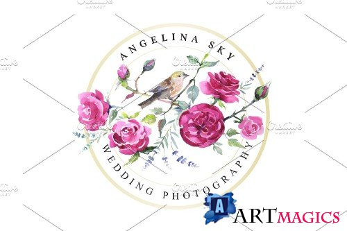 LOGO with roses and bird Watercolor - 3734432