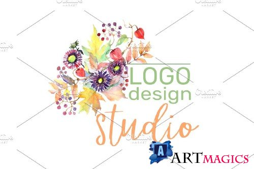 LOGO with asters, maple leaves - 3733191