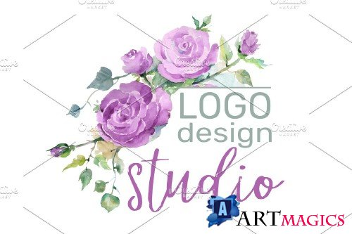 LOGO with purple roses Watercolor png - 3733449