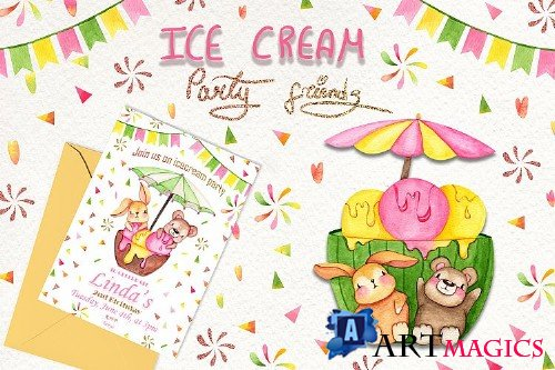 Ice Cream Party Friends - 252393