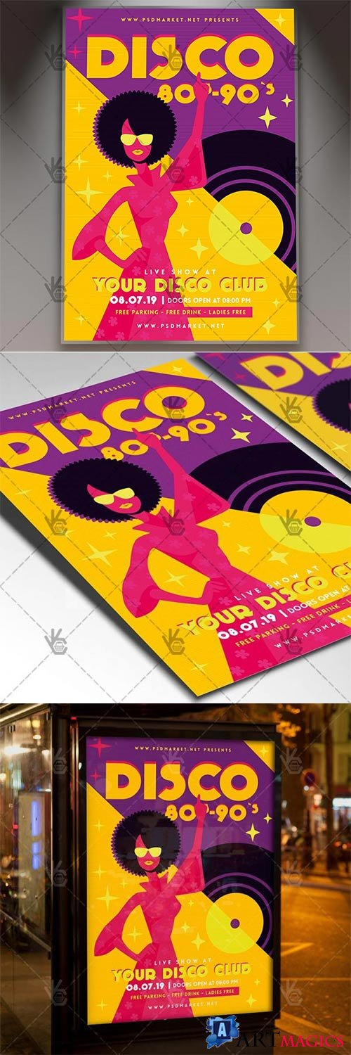Disco 80s-90s – Club Flyer PSD Template