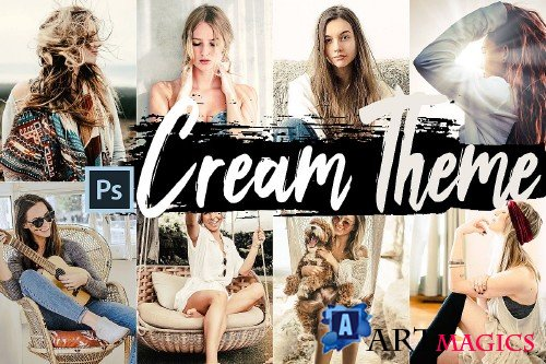 Neo Cream Theme Color Grading photoshop actions - 253006
