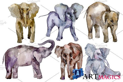 Elephant Watercolor png - 3743682