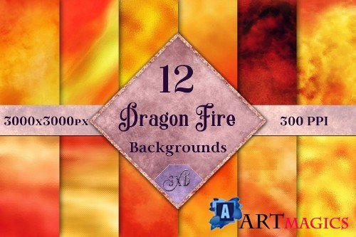 Dragon Fire Backgrounds - 12 Image Textures Set - 253092