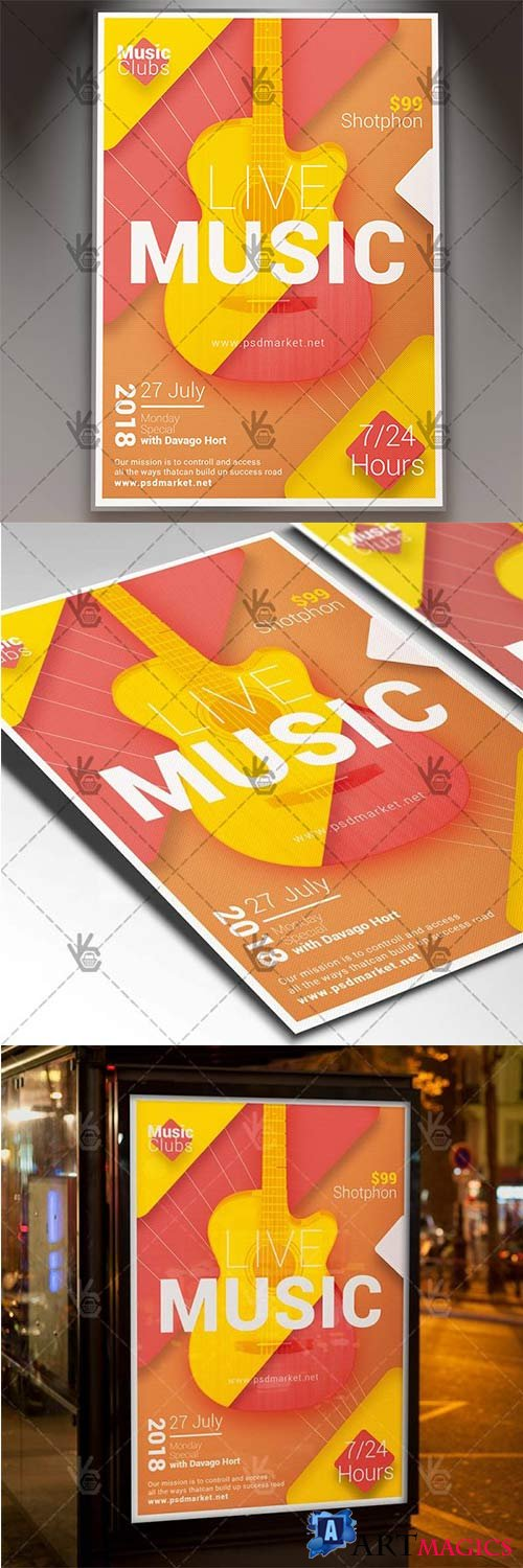 Live Music – Club Flyer PSD Template