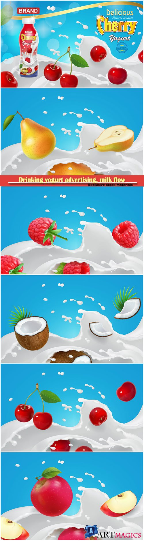 Drinking yogurt advertising,  milk flow and fruits and berries