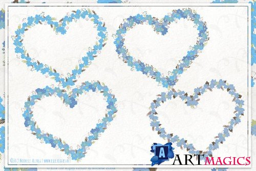 Cosmos 02 Wreaths - Blue Flower Clipart