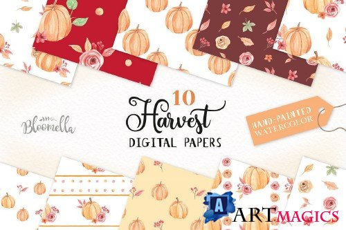 Pumpkin Seamless Patterns Watercolor - 2644669