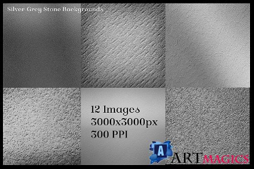 Silver-Grey Stone Backgrounds - 12 Image Textures Set 260334
