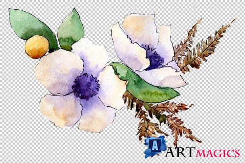 Bouquet flower composition PNG set - 3083070
